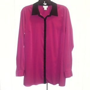 Motherhood Pink Blouse with Black Trim Sz S